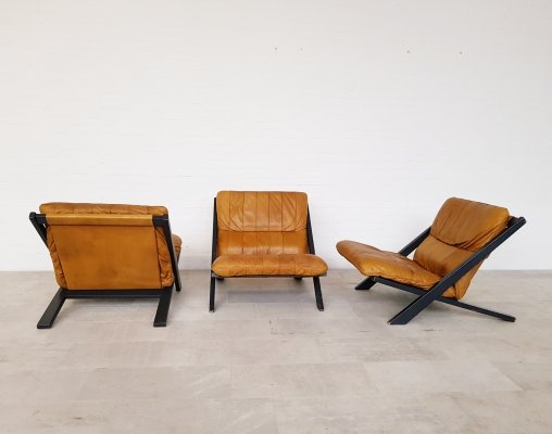 Set of 3 patchwork De Sede DS80 chairs by Ueli Berger, 1970s