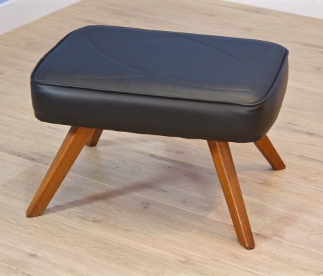 Danish footstool / ottoman in teak & leatherette, 1960s