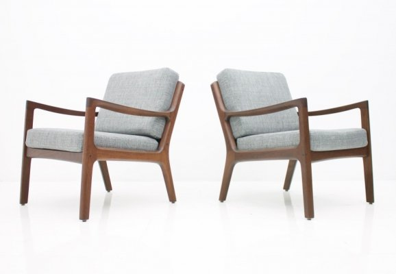 Pair of Ole Wanscher Easy Chairs in Mahogany