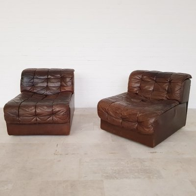 Set of 2 De Sede DS11 brown leather chairs, 1970s
