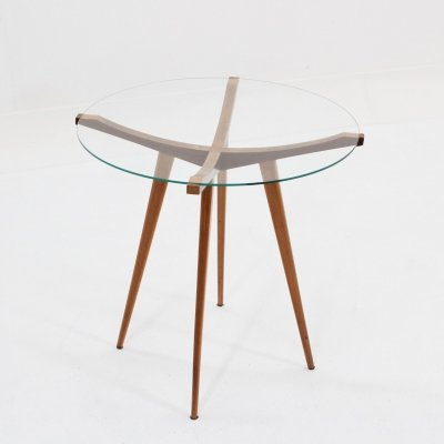 Occasional mid century Italian design round walnut coffee table
