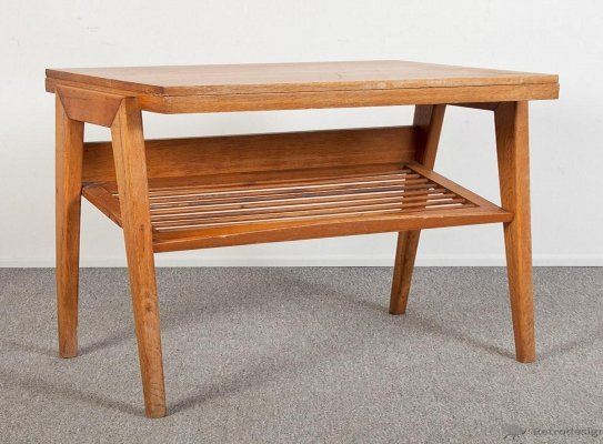 Solid varnished oak TV table, 1960s