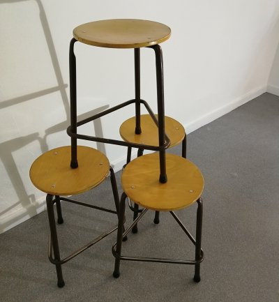 9 x Industrial stool, 1960s