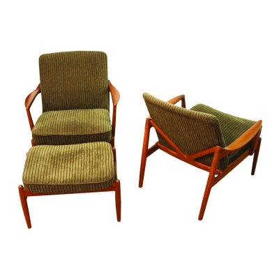 Model 125 Lounge Chairs with Ottoman by Tove & Edvard Kindt-Larsen for France & Son