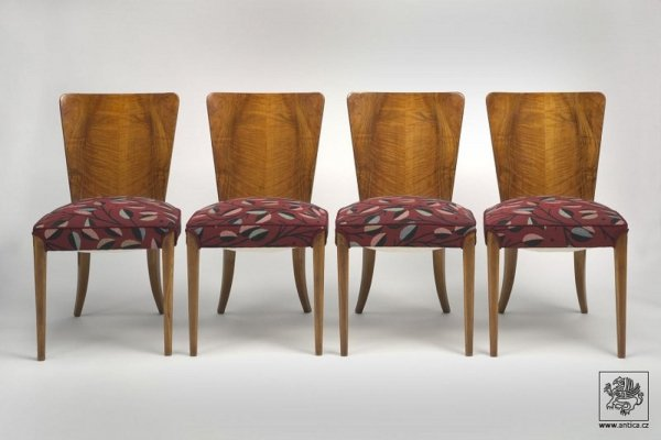 Set of 4 dining chairs by Jindřich Halabala for UP Závody, 1930s