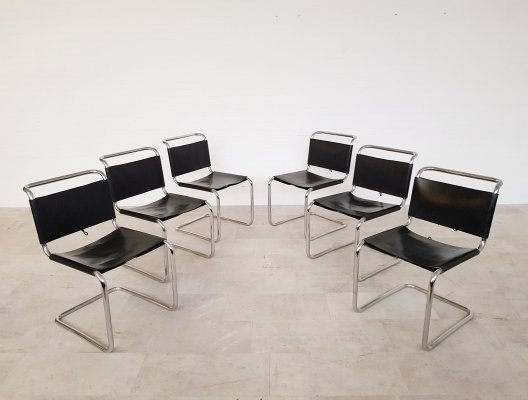Set of 6 'B33' Dining chairs by Marcel Breuer for Gavina, early 70's