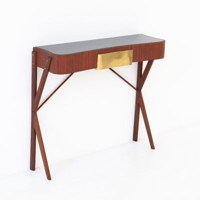 Italian Mahogany, Glass & Brass Console Table, 1950s