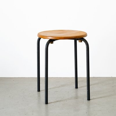 Industrial stool with wooden seat & black metal frame