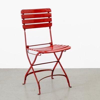 3 x Garden chair painted in red