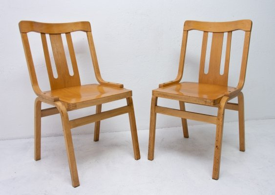 Pair of Ton N. P. Bystřice pod Hostýnem dining chairs, 1970s