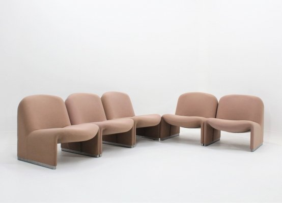 Set of 5 vintage Alky armchairs Giancarlo Piretti for Castelli, 1960s