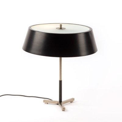 Very rare table lamp produced by Artiforte with metal shade & glass diffusor