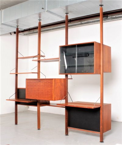 Rare Poul Cadovius roomdivider in teak with 5 cabinets & 8 shelves