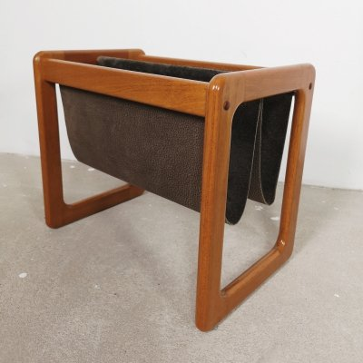 Danish leather & teak magazine holder