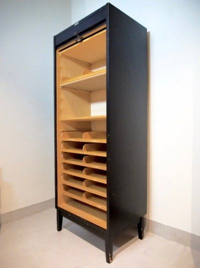 Black Swedish Roll-Front File Cabinet by O. Jonsson