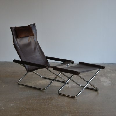 Early NY chair by Takeshi Nii along with it's matching footstool
