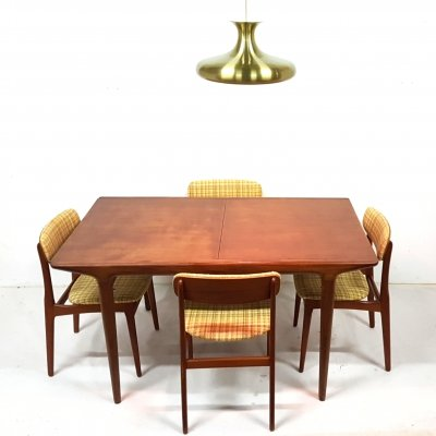 Teak extendable table & 4 chairs, Denmark 1960s