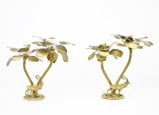 Pair of Brass Palm Tree Table lamps with a Deer, 1970s