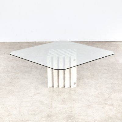 Marble coffee table with glass table top, 1980s
