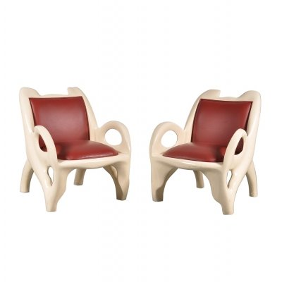 Unique Pair of Lounge Chairs, 1970s