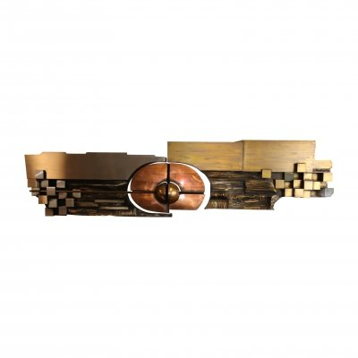 XL Hammered Copper, Brass & Steel Artwork by Carlos Marinas, 1975