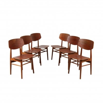 Set of 6 Børge Mogensen Dining Chairs for Søborg Møbelfabrik, Denmark 1950s