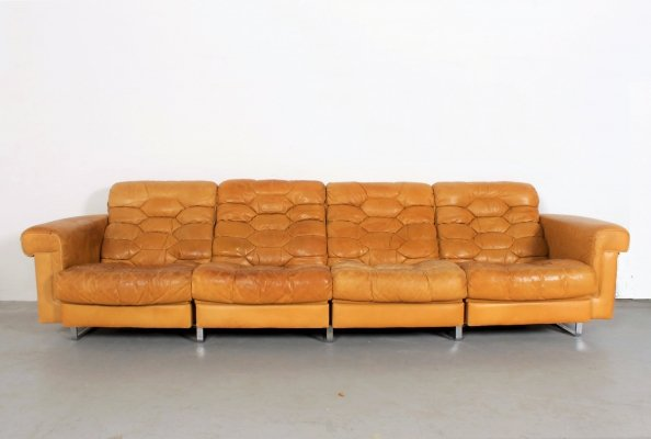 Exceptional DS-P 4-seater sofa by Robert Haussmann for De Sede in soft cognac leather & extensible seats