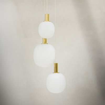 Pendant in opaline & brass by Limburg Glashütte, Germany 1970s
