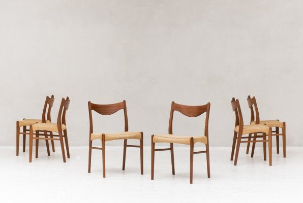 Set of 6 dining chairs by Ejner Larsen & Aksel Bender Madsen, 1960