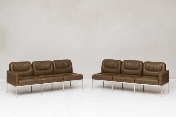 Double 3-seater in brown leather by Lübke, Germany 1970