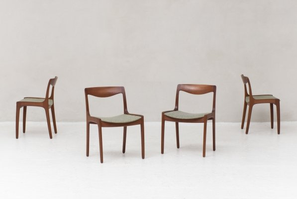 4 dining chairs by Wilhelm Volkert for Poul Jeppesen, Denmark 1960s