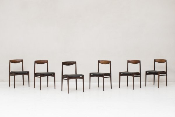 Set of 6 dining chairs in rosewood, Denmark 1960s