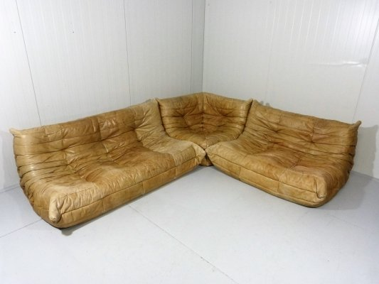 Leather Togo Lounge Suite by Michel Ducaroy for Ligne Roset, 1970's
