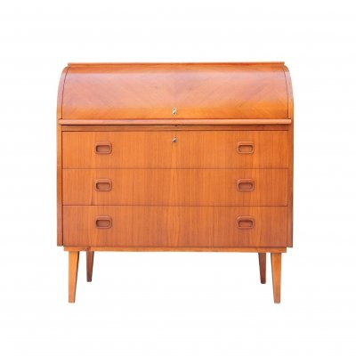 Mid-Century Scandinavian Teak Roll Top Desk by Egon Ostergaard
