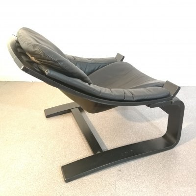 Swedish 'Kroken' lounge chair in black leather by Ake Fribyter for Nelo Mobel