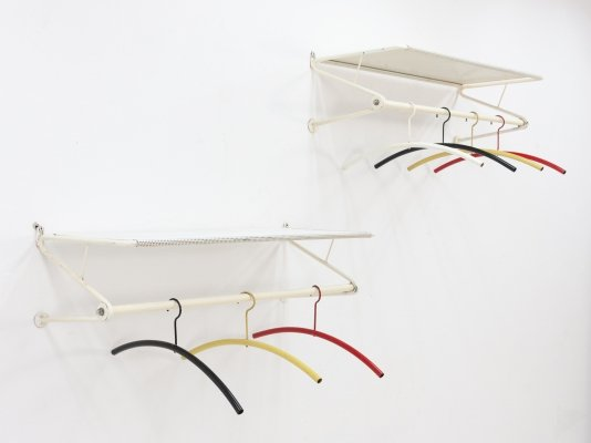 Pair of Mathieu Matégot 'nm 110' coatracks with coat hangers