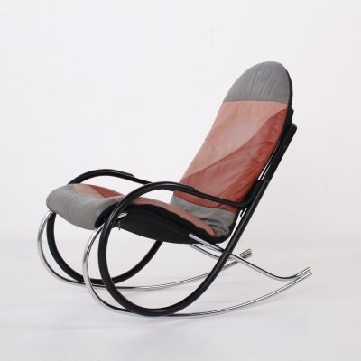Paul Tuttle 'Nonna' rocking chair with leather slipcover
