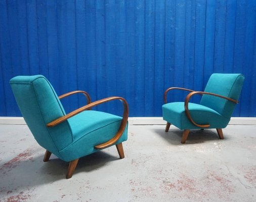 Pair of Bentwood Armchairs in Turquoise by Jindrich Halabala for Thonet, 1930s