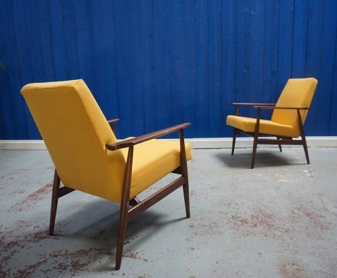 Pair of H. Lis Mid Century Armchair in Yellow, 1970s