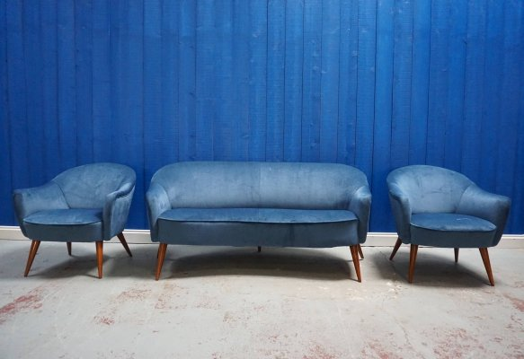 Mid Century Living Room Set in Blue Velvet, France 1960's