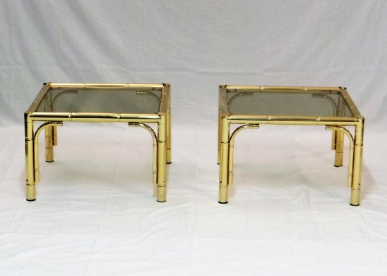 Pair of Gilded faux bamboo side tables