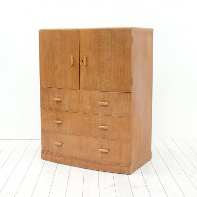 Art Deco Oak Bow Fronted Tallboy/Cabinet