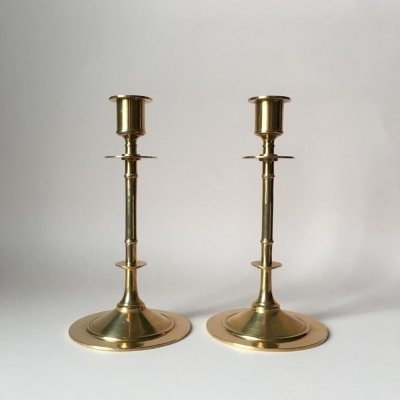Pair of Vintage Brass Candle Holders from Grillby Metallfabrik