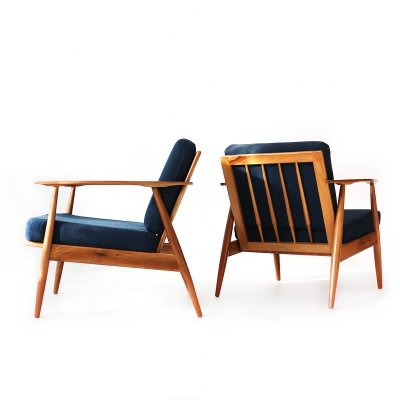 2x '60s Walnut Easy Chair with Blue Covers