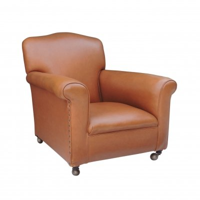 Vintage Brown Leather Studded Club Chair, 1960s