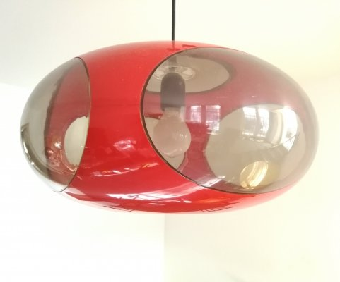 Ufo hanging lamp in red plastic by Massive, 1970s