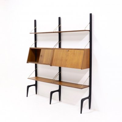 Teak & brass Wall Unit by Louis van Teeffelen for WeBe, 1950s