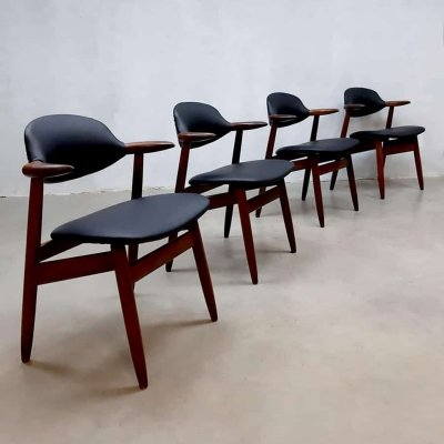 Set of 4 Vintage Dutch design Cowhorn chairs by Tijsseling for Hulmefa, 1950s