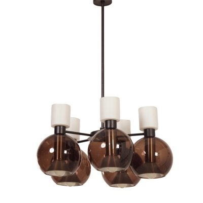 Glass Chandelier with Five Globes by Raak Amsterdam, 1960s