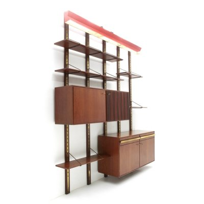 Italian mid-century wall unit with red lamp, 1950s